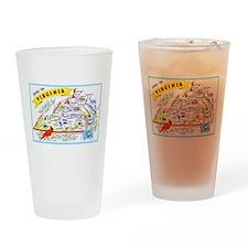 Virginia Map Greetings Drinking Glass