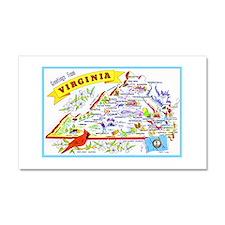 Virginia Map Greetings Car Magnet 20 x 12