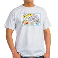 Virginia Map Greetings T-Shirt