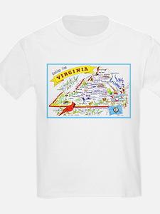 Virginia Map Greetings T-Shirt