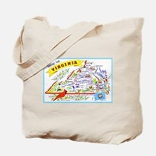Virginia Map Greetings Tote Bag