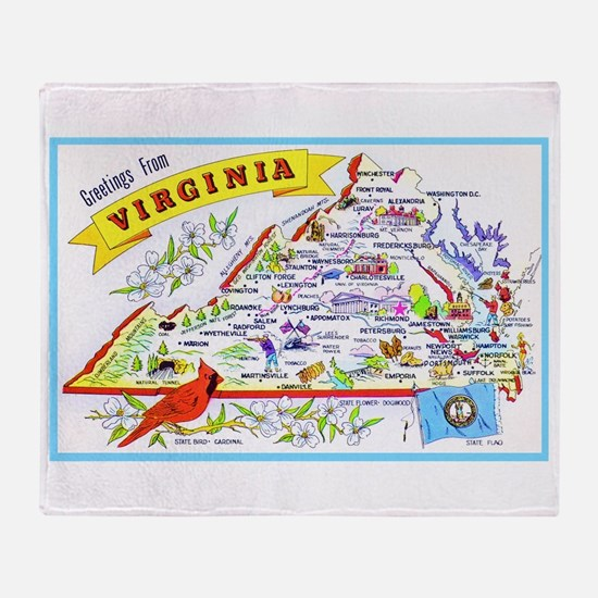 Virginia Map Greetings Throw Blanket