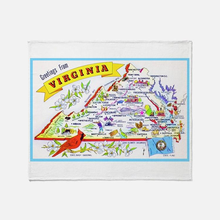 Virginia Map Greetings Throw Blanket