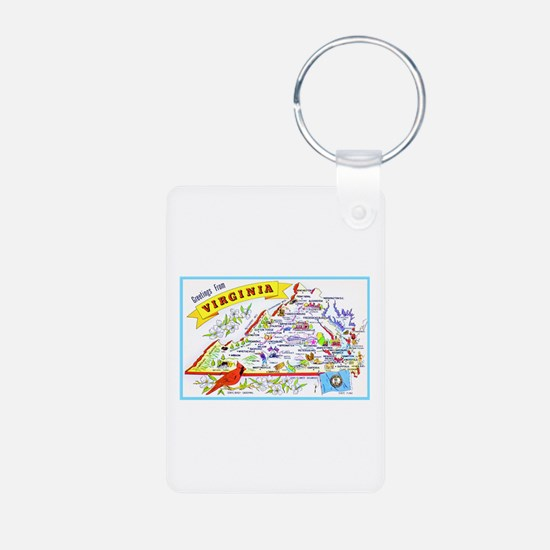Virginia Map Greetings Keychains
