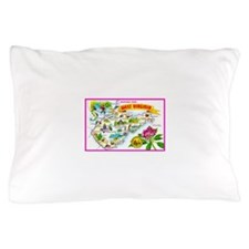 West Virginia Map Greetings Pillow Case