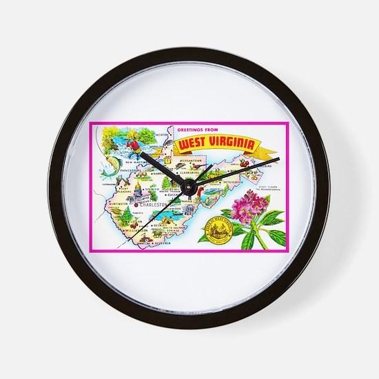 West Virginia Map Greetings Wall Clock