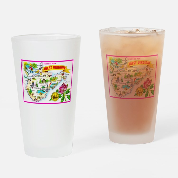 West Virginia Map Greetings Drinking Glass