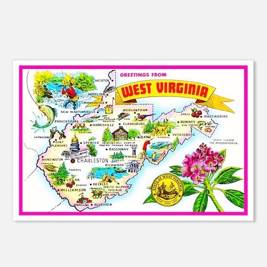 West Virginia Map Greetings Postcards (Package of