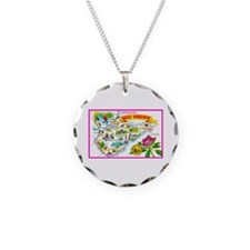 West Virginia Map Greetings Necklace