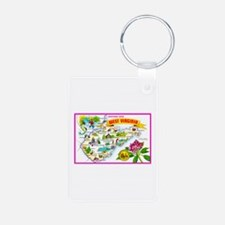 West Virginia Map Greetings Keychains