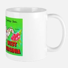 West Virginia Map Greetings Mug