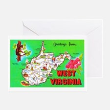 West Virginia Map Greetings Greeting Card
