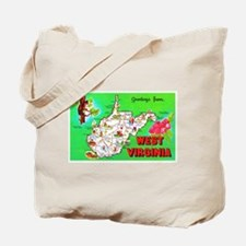 West Virginia Map Greetings Tote Bag