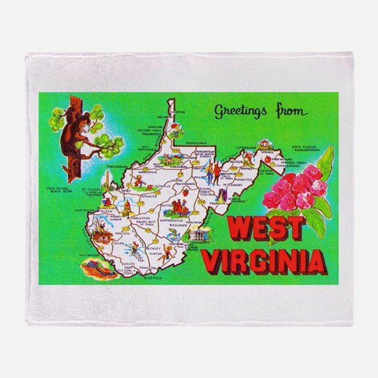 West Virginia Map Greetings Throw Blanket