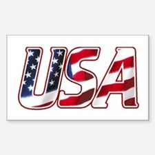 USA in Red White & Blue Rectangle Decal