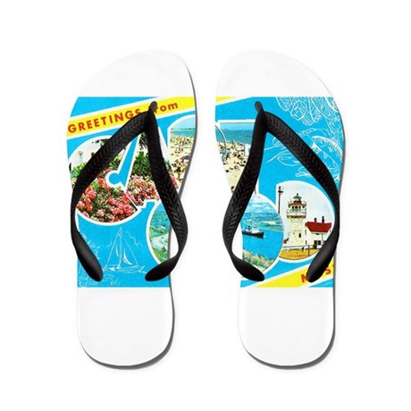 cape cod massachusetts greetings flip flops by w2arts. Black Bedroom Furniture Sets. Home Design Ideas