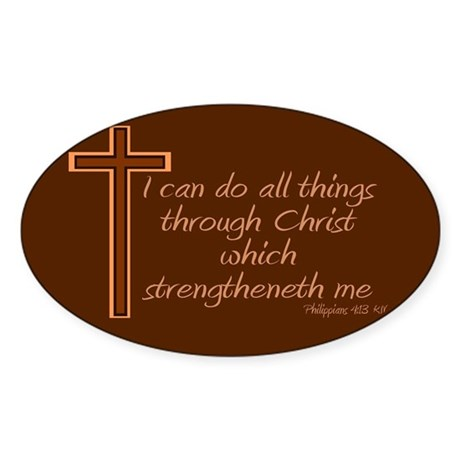 Philippians 4 13 Brown Cross Sticker (Oval)