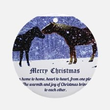 Merry Christmas Snow Horses Ornament (Round)