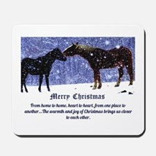 Merry Christmas Snow Horses Mousepad