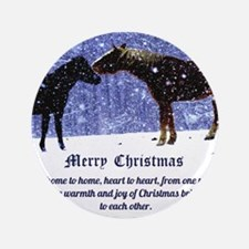 "Merry Christmas Snow Horses 3.5"" Button"