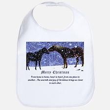 Merry Christmas Snow Horses Bib