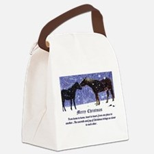 Merry Christmas Snow Horses Canvas Lunch Bag