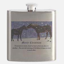 Merry Christmas Snow Horses Flask