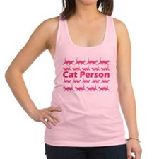 Pink Cat Person Racerback Tank Top