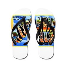 Wisconsin Dells Greetings Flip Flops