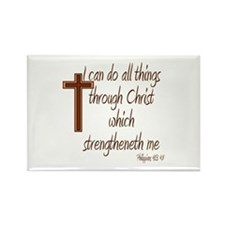 Philippians 4 13 Brown Cross Rectangle Magnet