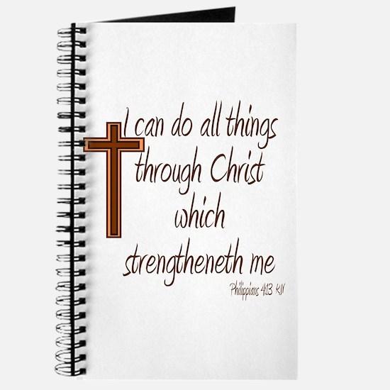 Philippians 4 13 Brown Cross Journal