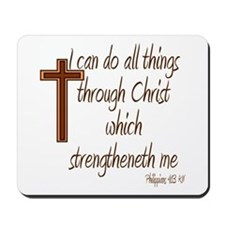 Philippians 4 13 Brown Cross Mousepad