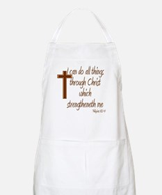 Philippians 4 13 Brown Cross Apron