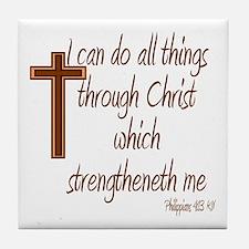 Philippians 4 13 Brown Cross Tile Coaster