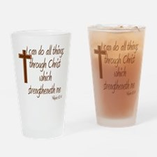 Philippians 4 13 Brown Cross Drinking Glass