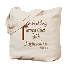 Philippians 4 13 Brown Cross Tote Bag