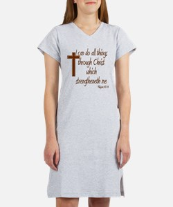 Philippians 4 13 Brown Cross Women's Nightshirt