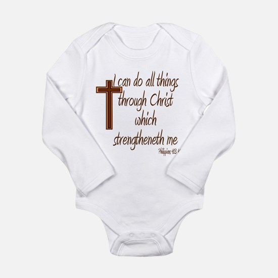 Philippians 4 13 Brown Cross Long Sleeve Infant Bo