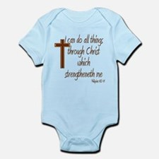 Philippians 4 13 Brown Cross Infant Bodysuit