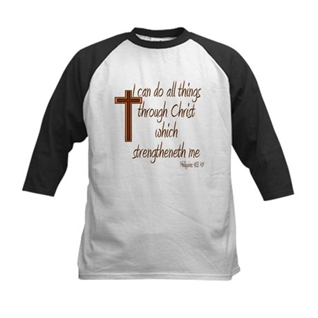 Philippians 4 13 Brown Cross Kids Baseball Jersey