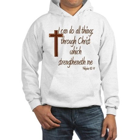 Philippians 4 13 Brown Cross Hooded Sweatshirt