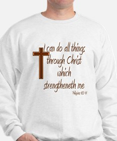 Philippians 4 13 Brown Cross Sweatshirt