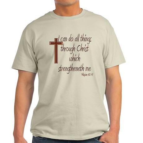 Philippians 4 13 Brown Cross Light T-Shirt