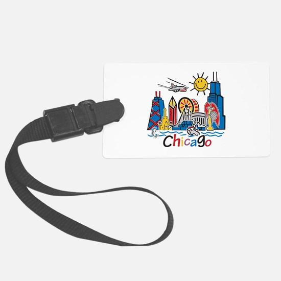 Chicago Cute Kids Skyline Luggage Tag