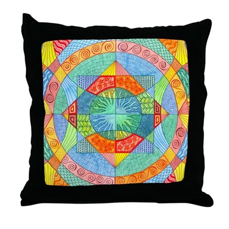Sacred Geometry Watercolor Throw Pillow