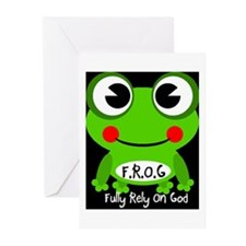 Cute Cartoon Frog Fully Rely On God F.R.O.G. Greet