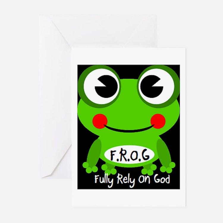 Cute Cartoon Frog Fully Rely On God F.R.O.G. Greet