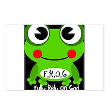 Cute Cartoon Frog Fully Rely On God F.R.O.G. Postc