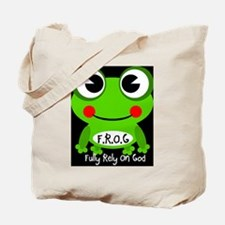 Cute Cartoon Frog Fully Rely On God F.R.O.G. Tote