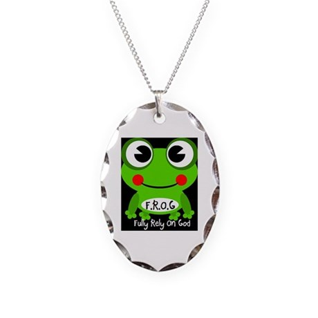 Cute Cartoon Frog Fully Rely On God F.R.O.G. Neckl